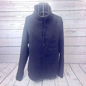 DKNY Black Funnel Neck Logo Pullover Sweatshirt